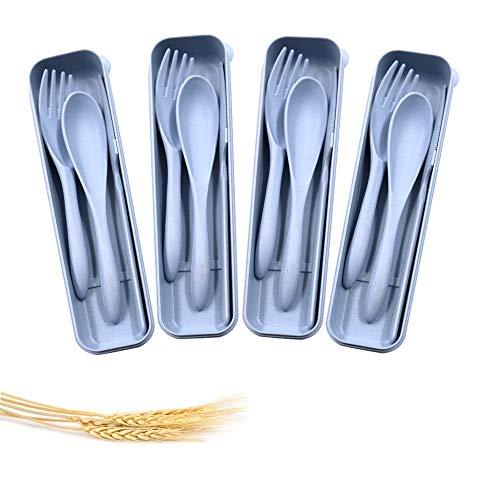 4 Sets Tragbares Besteck, Weizenstroh-Besteck, Löffel, Messer, Gabel, Geschirr-Set für Kinder, Erwachsene, Reisen, Picknick, Camping (blau)
