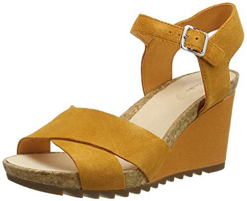 Clarks Flex Sun, Sandali con Cinturino alla Caviglia Donna, Giallo (Amber Suede Amber Suede), 39.5 EU
