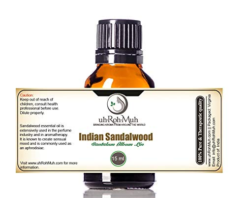 Mysore Sandalwood Essential Oil | GCMS Tested | Pure and Natural Essential Oil | 100% Pure & Undiluted | See GCMS Data in Images (15 ml)