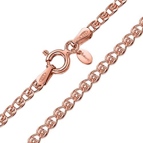 Amberta 925 Sterlingsilber 14k Roségold Damen-Halskette - Herzkette - 2.3 mm Breite - Verschiedene Längen: 40 45 50 55 60 cm (60cm)
