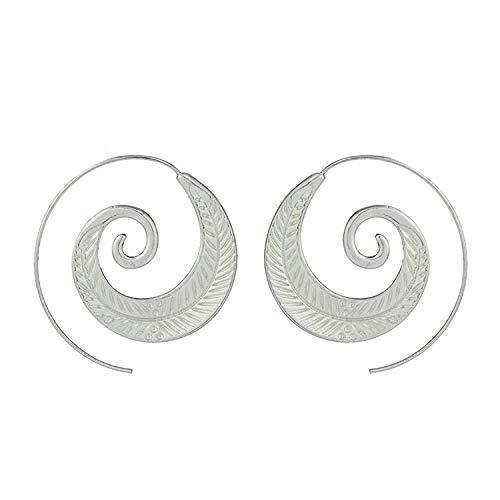 Gymqian Novedad Pendiente de aleación de joyería femenina para mujer Pendientes de aro con licencia en espiral/Plata