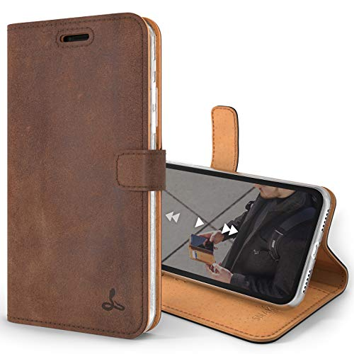 Snakehive Vintage Wallet for Apple iPhone Xs/iPhone X    Real Leather Wallet Phone Case    Genuine Leather with Viewing Stand & 3 Card Holder    Flip Folio Cover with Card Slot (Brown)