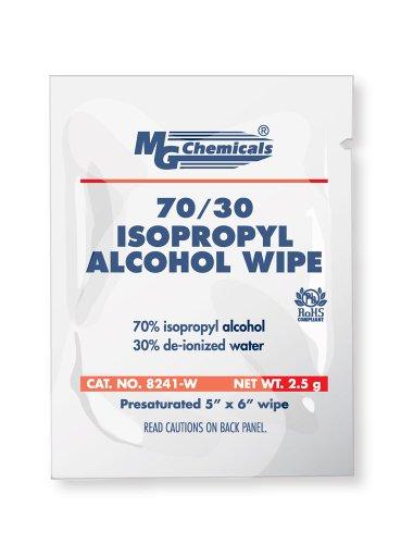MG Chemicals 8241 IPA 70/30 Toallas presaturadas con alcohol, 6'de largo x 5' de ancho (Caja de 25 empacadas individualmente)