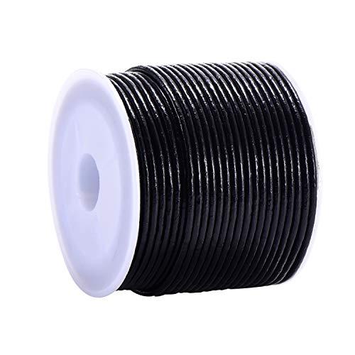 DonDon Lederband rund 25 Meter Rolle schwarz 2 mm