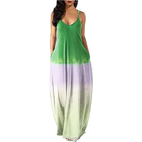 Damen Sommerkleid Mode Sommer Tie-Dye Farbverlauf Abendkleider Elegant Sling ärmelloses Cocktailkleid mit Tasche Loose Bodenlanges Maxikleid(XL,Grün)