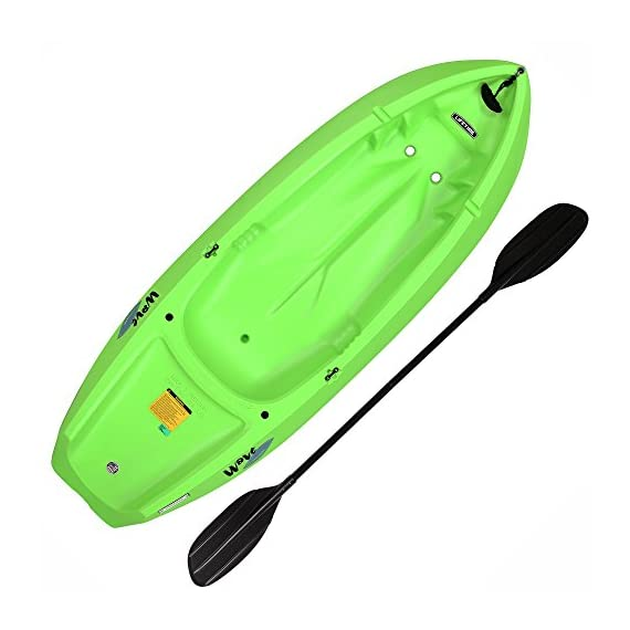 Lifetime Youth Wave Kayak with Paddle, 6 Feet, Green 1 Specifically designed for kids ages 5 and up; 130 LB weight capacity Lightweight 18 Lb. design with molded finger handles on each side for easy transport Sloped at the end with a swim-up step allowing rider to easily re-enter the kayak from the water