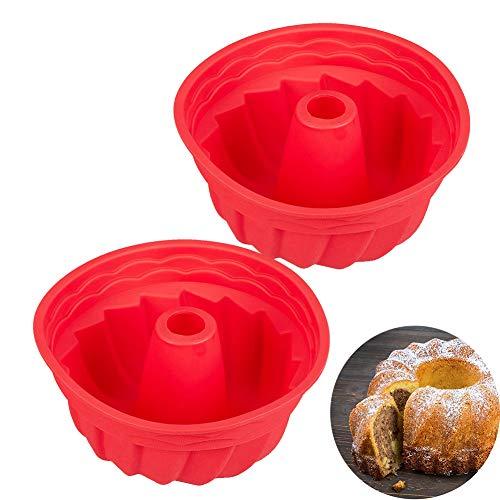 Stampo in Silicone per Torte, HOMEK 2 pezzi 23X10cm Spirale Stampo per Ciambella Stampo in Silicone per Dolci Antiaderente Cake Molds, Bigné, Pudding e Cubi di Ghiaccio, Rosso