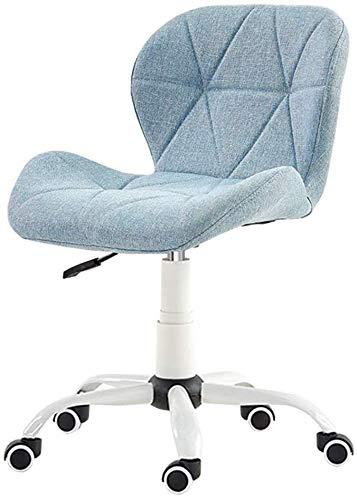 MGE Ergonomische Home Office bureaustoel zonder armleuningen, draaibaar linnen bank stoel, 10 cm verstelbaar hoogte kleine Student Study stoel, blauw