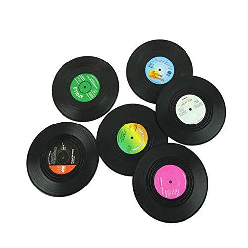 6Pcs Atrof-muhit uchun zararli plastikdan yasalgan piyodalarga qarshi silikon mashina yozuvi Coaster retro vinil CD plita issiqlik plitasi