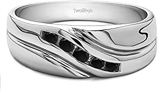 TwoBirch Sterling Silver Twisted Shank Men's Wedding Ring With Black Cubic Zirconia (0.29Ct. Size 11.5)