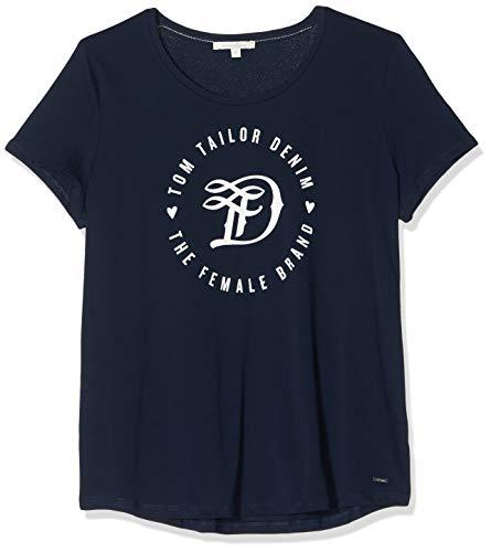TOM TAILOR Denim Damen Doppelpack Basic Logo Tee T-Shirt, Blau (10360), XXL
