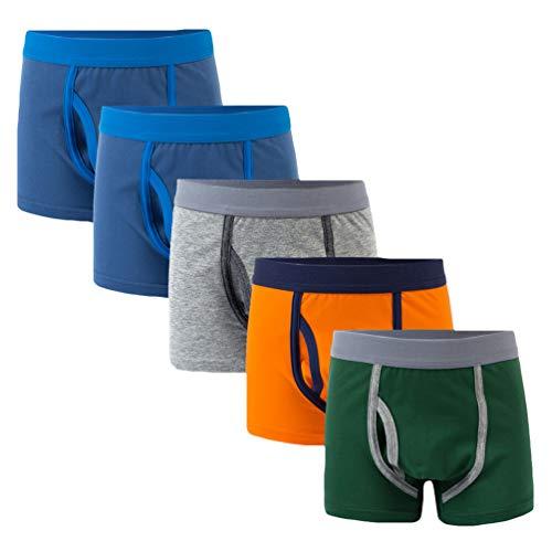 YoungSoul 5er Pack Jungen Boxershorts Baumwolle Unterhosen Kleinkind Unterwäsche mit Kontrastdesign Modell 4/2-3 Jahre