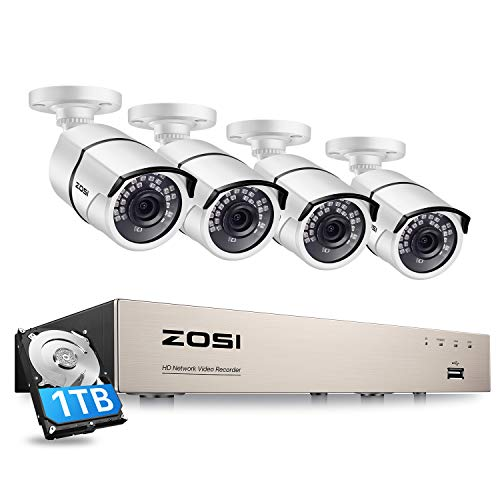 ZOSI Kit de Cámaras de Vigilancia PoE 8CH 5MP H.265+ PoE NVR con (4) Cámara de Seguridad Exterior, 30M Visión Nocturna, Alarma de Movimiento, 1TB Disco Duro