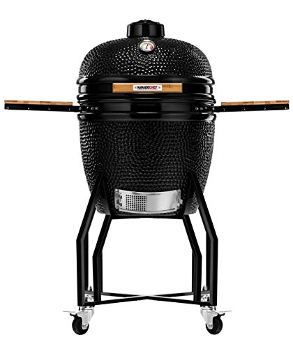 Kamado Chef 1900 Classic Diamond Black XL 19 Inch Ceramic BBQ Charcoal Grill, Smoker and Oven for Grilling, Searing, Roasting, Smoking and Barbecue – incl. Heat Deflector etc.