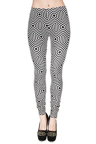 Leggings Fullprint Dames Legging Print Kleurrijke Workout Kleurrijke Volledig bedrukt Ondoorzichtige broek Gym Fitness Sport Yoga Stretch Hypnose Zwart Wit