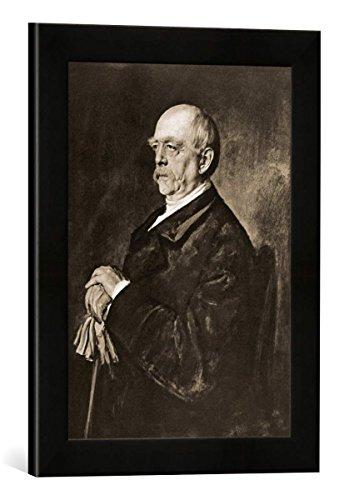 Gerahmtes Bild von Franz Seraph von Lenbach Otto v.Bismarck,Porträt/Gemälde Lenbach, Kunstdruck im hochwertigen handgefertigten Bilder-Rahmen, 30x40 cm, Schwarz matt