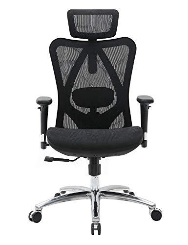 SIHOO Ergonomischer Bürostuhl, Chefsessel mit 3D verstellbare Armlehne und Lendenwirbelstütze, Hautfreundliche Netz-Hochlehne, Schreibtischstuhl bis 150kg/330LB Belastbar