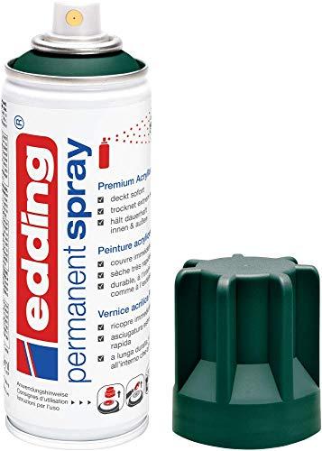 edding 5200 Permanent-Spray - moos-grün matt - 200 ml - Acryllack zum Lackieren und Dekorieren von Glas, Metall, Holz, Keramik, lackierb. Kunststoff, Leinwand, u. v. m. - Sprühfarbe