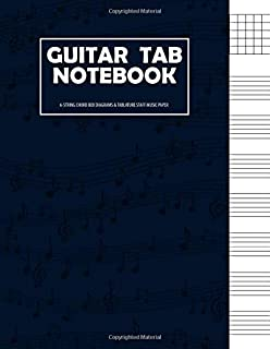 Guitar Tab Notebook: 6 String Guitar Chord and Tablature Staff Music Paper for Guitar Players, Musicians, Teachers and Students (8.5