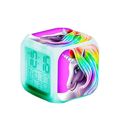 BOTU-TECH Réveil pour Enfants,Licorne Réveil Enfant Educatif Jour/Nuit Lumineux - Cube LCD LED Night Glowing Night avec Enfants légers Réveillez-Vous Horloge de Chevet Cadeaux d'anniversaire