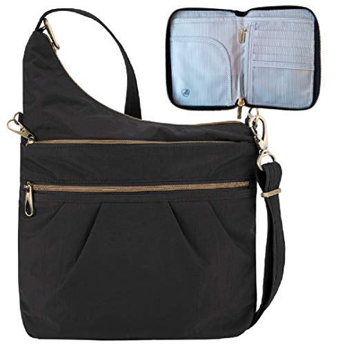 Travelon Anti-Theft Signature 3 Compartment Travel Cross Body Shoulder Bag with Matching RFID Blocking Zip Around Passport Travel Wallet, Black