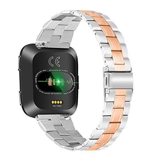 Jennyfly Bracelets compatibles avec Fitbit Versa/Versa 2/Versa Lite, bracelet fin en métal réglable de 12,7 à 21,8 cm, bracelet en acier inoxydable – Or rose