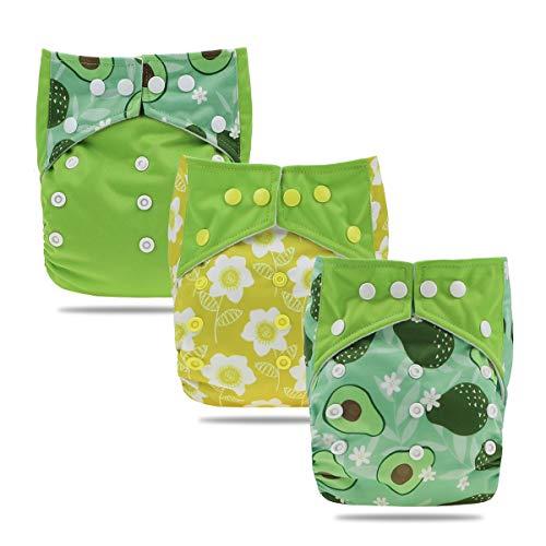 Hisprout Baby wiederverwendbare saugfähige Digitaldruck-Stoffwindel, 3er-Set mit 3 Bambuseinsatz(Avocado)