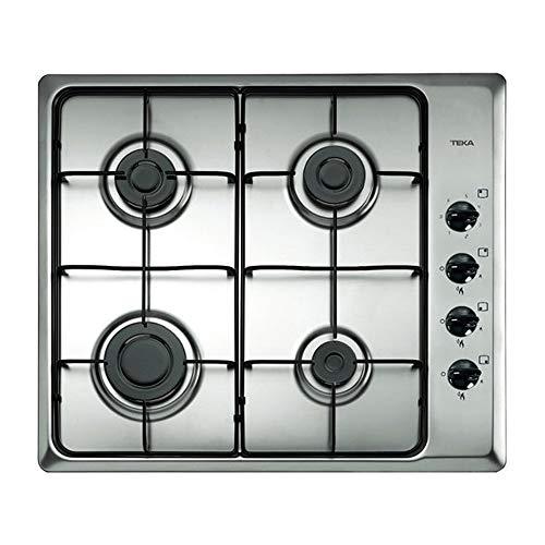 Teka - Placa de Gas natural con 4 quemadores y parrillas esmaltadas, acero inoxidable, 50 x 60 x 3.5 cm
