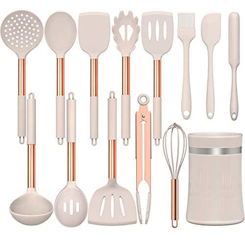 Umite Chef 14 pcs Silicone Cooking Utensils Kitchen Utensil Set - 446°F Heat Resistant, Kitchen Gadgets Tools Set with Copper Stainess Steel Handles for Non-Stick Cookware (Khaki)