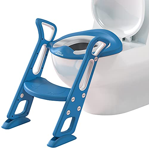 Potty Training Toilet Seat with Step Stool Ladder for Kids and Toddler, Sturdy Potty with Ladder for Boys and Girls by BlueSnail (Blue Upgrade PU Cushion)