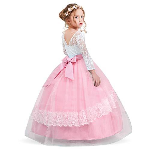 TTYAOVO Mädchen Spitze Backless Ballkleider Chiffon Blume Prinzessin Pageant Party Kleid Größe 6-7 Jahre Rosa