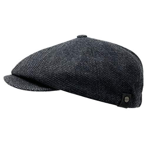 WEROR Herren Schiebermütze Flatcap Mütze Cap Schirmmütze WEROR-323.1 (Schwarz, 60-61)