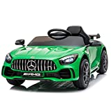 Fierton Kids Ride on Car for Kids w/ Remote Control, 12V Licensed Mercedes Benz AMG GTR Battery Powered Electric Vehicle w/ LED Lights MP3 Music Horn (Green)