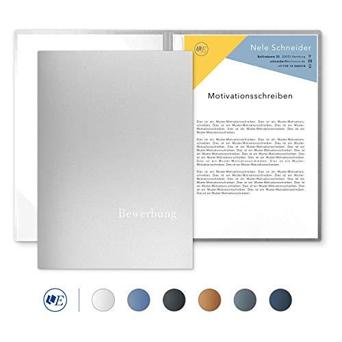 """5 Stück 2-teilige Bewerbungsmappen Esclusiva® Classic-plus in Silber mit 1 Klemmschiene // in 1A-Premium-Qualität mit hochwertiger Flach-Prägung """"BEWERBUNG"""" // Produkt-Design von"""