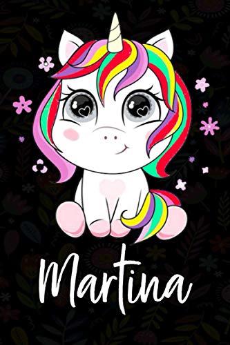 Martina: Cuaderno de notas unicornio para niña con nombre personalizado Martina, cuaderno unicornio , perfecto regalo de cumpleaños y navidad o San Valentíno ,110 paginas, Cubierta negra brillante