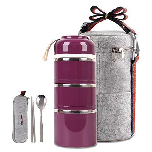 Bonita lonchera aislada con caja de Bento y cuchara para niños, adultos, oficina, escuela, camping
