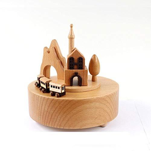 PLBB3K Artesanía de Regalo Creativo Artesanía de Madera Caja de música Log Music Box-Blue (Color : Castle)