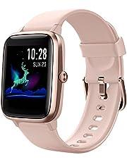 HAFURY Gesundheits Smartwatch, polshorloge met hartslagmeter, fitnesstracker, sporthorloge met stappenteller, slaapmonitor, stopwatch voor dames, heren en kinderen, zwart