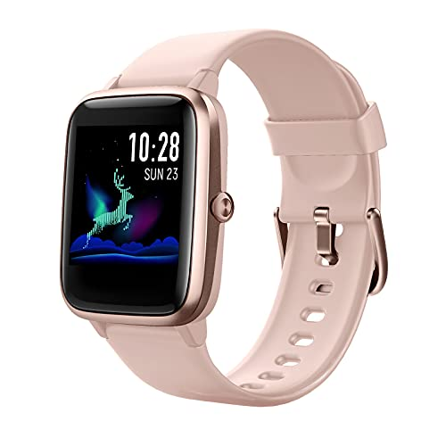 HAFURY Smart Watch Activity Fitness Tracker Watch for Men Women, Smartwatch for Android & iOS, Fitness Watch Heart Rate Monitor, IP68 Swimming Waterproof Watch with Calories Step Sleep Tracker, Pink