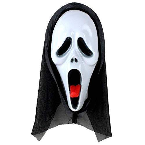 N/P Halloween Horror Decorative Mask Cos Play Scream Face Grimace Masquerade Scary Mask for Men and Women (Tongue-Out face)