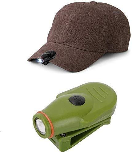 KaiKai Faro, el Sombrero del Casquillo Mini LED Faro de la Linterna de la antorcha luz de la Cabeza de la lámpara de Caza Que acampa Pesca Clip-On con batería incorporada, Verde