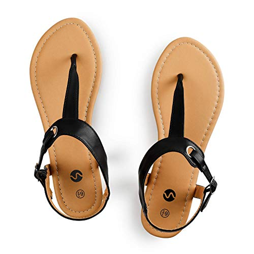 Rekayla Flat Thong Sandals with T-Strap and Adjustable Ankle Buckle for Women BLACK 09