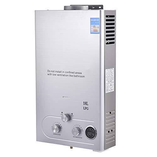 Calentador de Agua Instantáneo a Gas, 18L 4,8 GPM,36kW, Calentador de Agua LPG, sin Tanque, con LCD Digital, acero Inoxidable con Cabezal de Ducha, Camping, RV