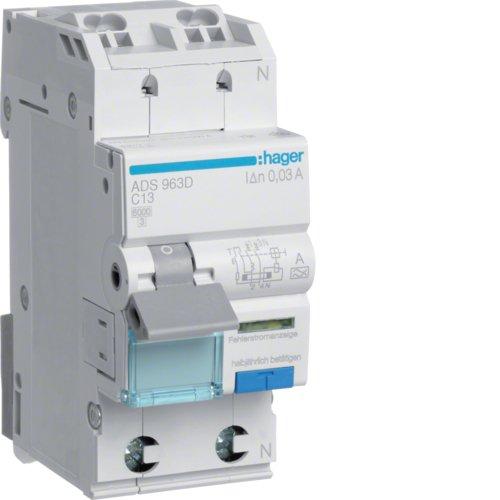 Hager ADS963D FI-LS 1P+N 6kA C-13A 30mA A QC