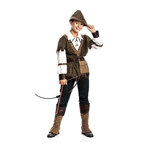 Kostümplanet® Robin Hood Kostüm Kinder Jungen Kinder-Kostüm Set Faschingskostüm Mittelalter Verkleidung Karneval Jäger Bogenschütze Größe 140