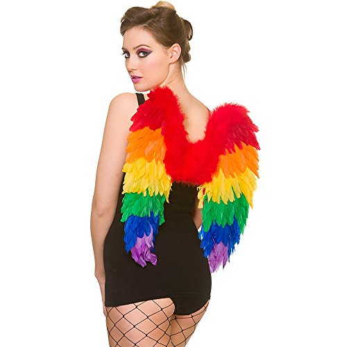 Adult Large Rainbow Feather Angel Wings Gay Pride/ Carnival Fancy Dress Accessory