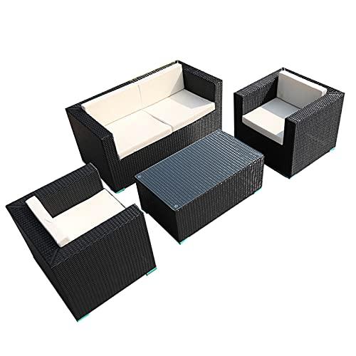 Conjunto de sofás Conjunto De Muebles De Exterior, Muebles De Terraza Combinados, Conjunto De Sofás De Ratán PE para Jardín Y Terraza(Size:Style 1)