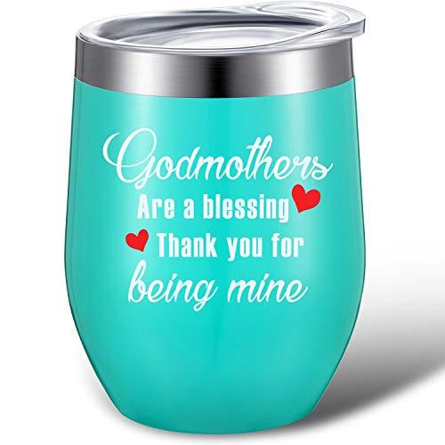 Vaso de Vino Regalo de Agradecimiento de Madrina Godmothers Are a Blessing Thank You for Being Mine, Tazas Térmicas de Vino de Regalo de Bautismo con Tapa, Pajita y Caja de Regalo (Menta)