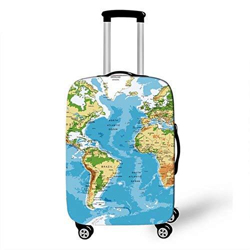 CNNINHAO Elastisch Reise Kofferschutzhülle Abdeckung Waschbar Kofferhülle Schutz Bezug mit Reißverschluss Reisekoffer Überzug Case für Gepäckstücke Klein Mittel Groß (Karte B,M (22-24 Zoll))