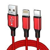 Agedate Multi USB Câble, 1.25M Nylon 2 en 1 Câble de Charge Universel Chargeur Multiple Typ C pour...